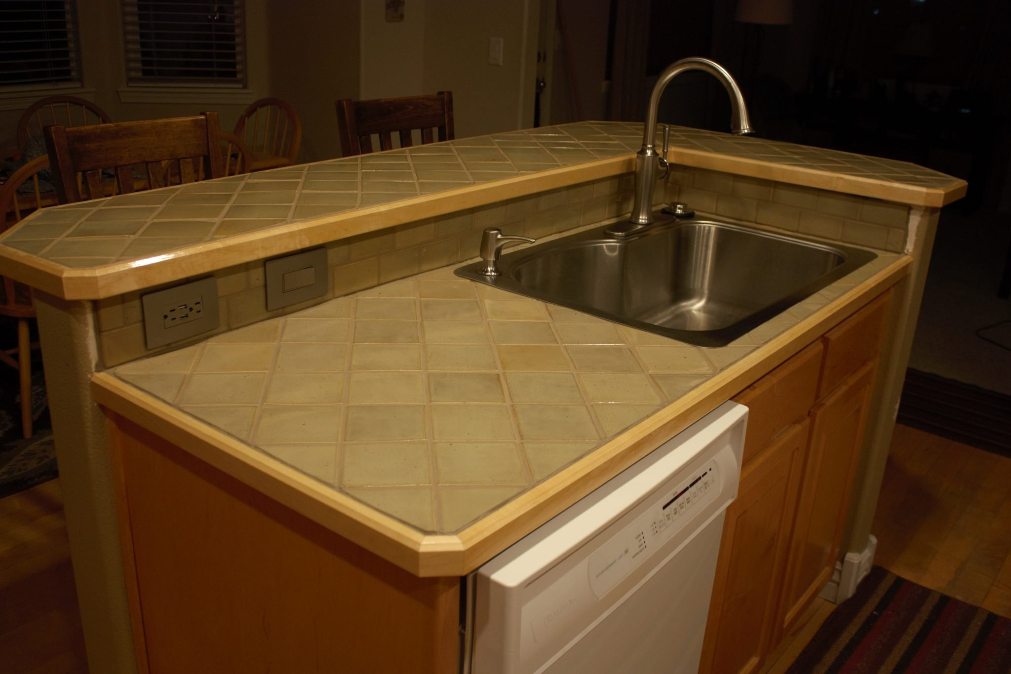 Ceramic tile countertops add beauty and personality to a for Porcelain countertops cost