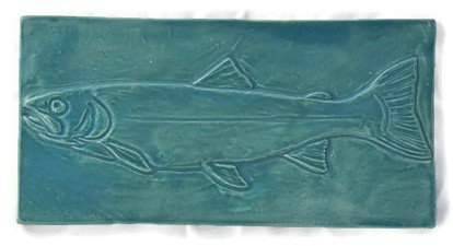 Trout 4 Inch X 8 Inch Ceramic Tile Fire Creek Clay